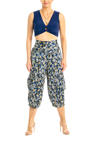 High Waisted Capris Pants in Blue Floral Print