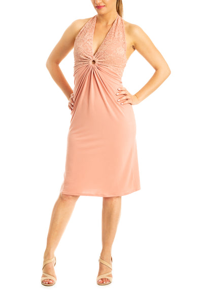 Halter neck tango dress with lace and front gatherings - peach