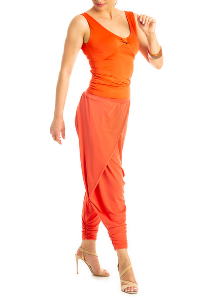 Modern harem style tango pants with wrap front - coral