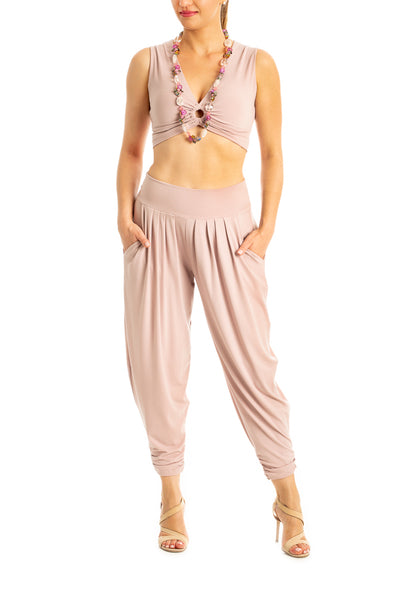 Harem Style Tango Pants with Pleated Front - Nude Pink