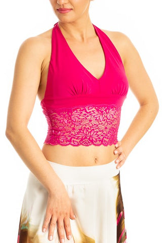 Fuchsia Tango Crop Top with Lace