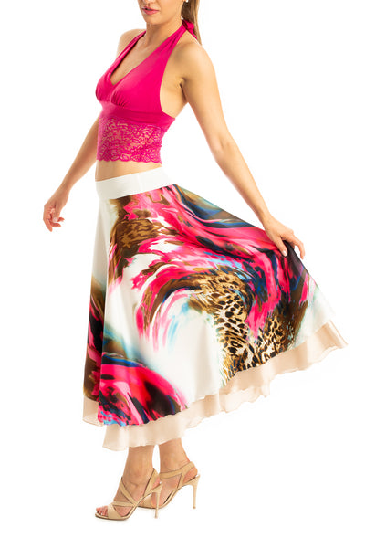 Two-tier tango dance skirt