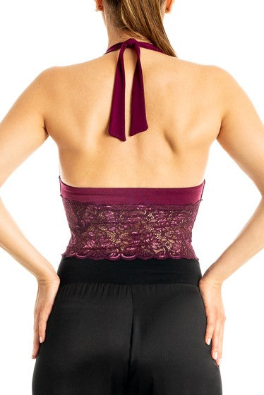 Eggplant Tango Crop Top with Lace