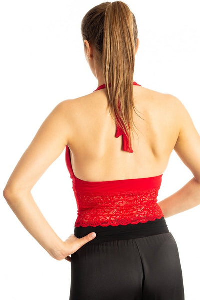 Red Tango Crop Top with Lace