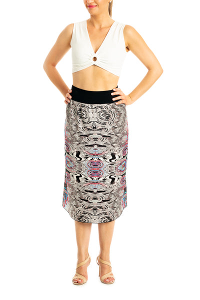 Satin Asymmetric Tango Skirt -Mixed Print in Gray