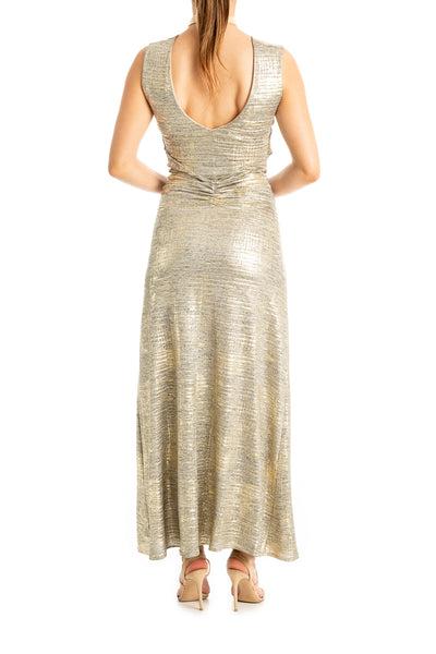 Gold Lamé Evening Dress With Front Knotted Details