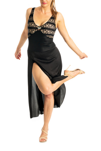 Black Tango Performance Dress For Shows & Festivals