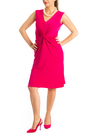 Twist Knot Tango Dress - Dark Fuchsia