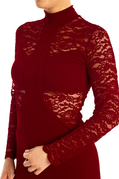 Burgundy Tango Dress With Lace Details And Ruched Fishtail Skirt