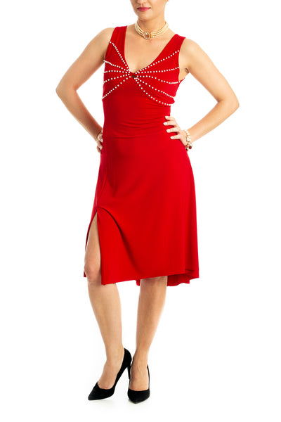 Tango Dress with Pearl Beads - Red
