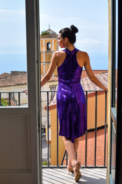 All Ruched Sequined Tango Dress - Purple