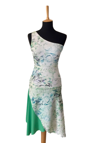 Asymmetric tango dress in light green tones