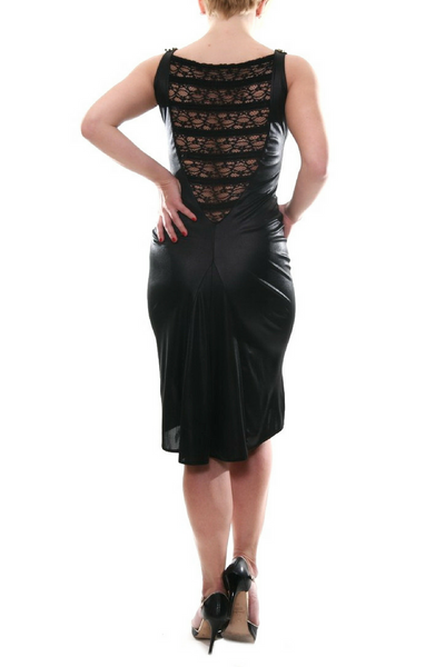 Black metallic tango dress with lace back