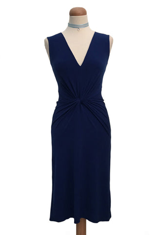 Twist Knot Tango Dress - Dark Blue