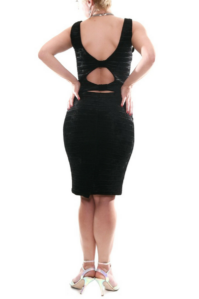 Black velvet bodycon dress with keyhole cutout