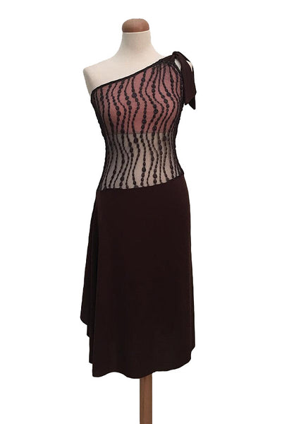 Brown one-shoulder tango dress with right side draping