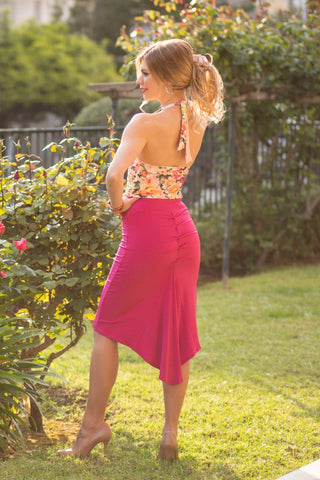 Fuchsia Fishtail Skirt