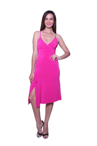Fuchsia Tango Dress with Spaghetti Straps