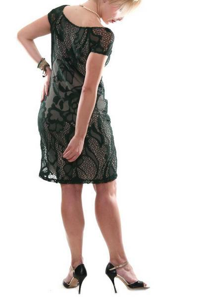 Forest green guipure lace dress