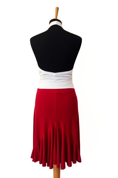 Red Tango Skirt with Back Ruffles