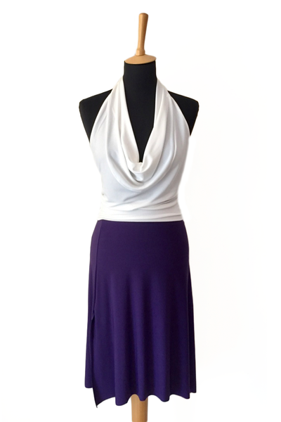 Purple tango dance skirt with rich back draping.
