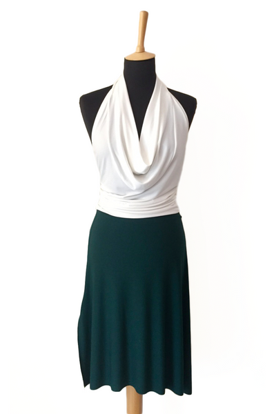 Tango dance skirt with rich back draping -forest green