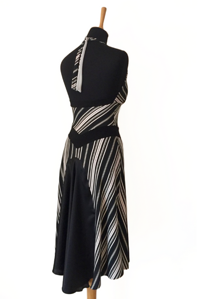 Black and white fishtail tango dress
