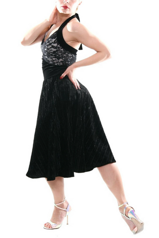 Black velvet tango dress with lace bust