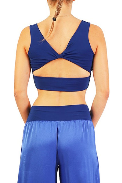 Crop Top with Cutout Back - Electric blue