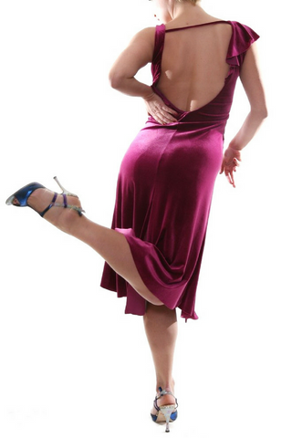 Argentine tango dress in fuchsia velvet