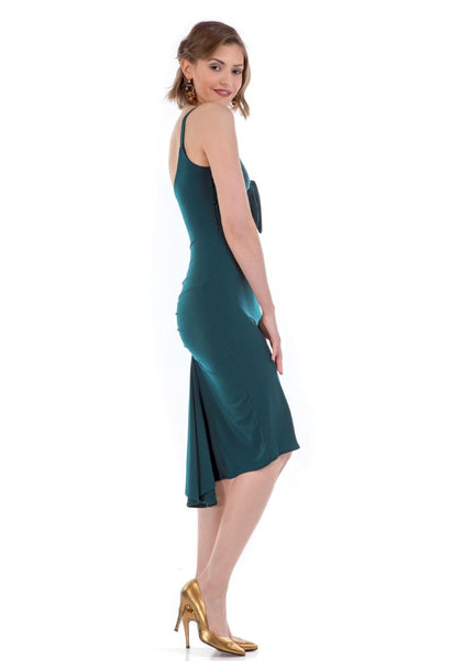Fishtail Tango Dress With Front Knot - forest green