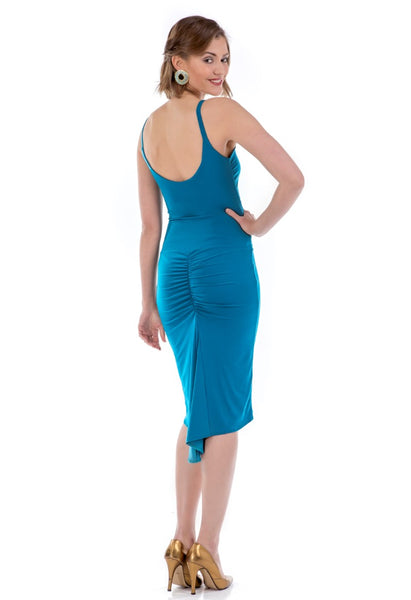 Fishtail Tango Dress With Front Knot - petrol blue