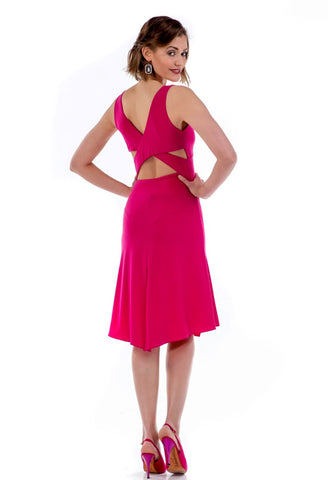 Fuchsia Tango Dress with Crisscross Back