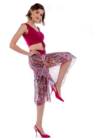 Georgette Dynamic Print Capri Pants