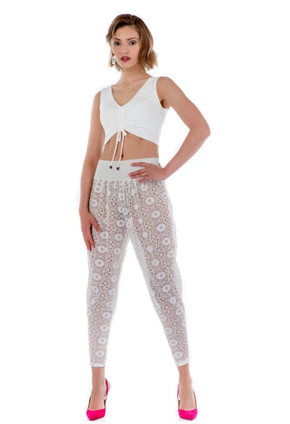 Off-white Sheer Laced Tango Pants