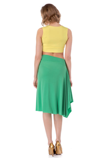 Skirt With Side Draping - bright green