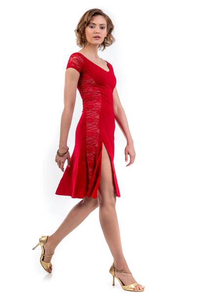 Red Elegant Tango Dress With Lace Back & Sides