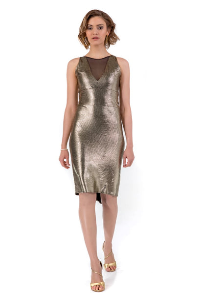 Metallic Fishtail Tango Dress - Gold
