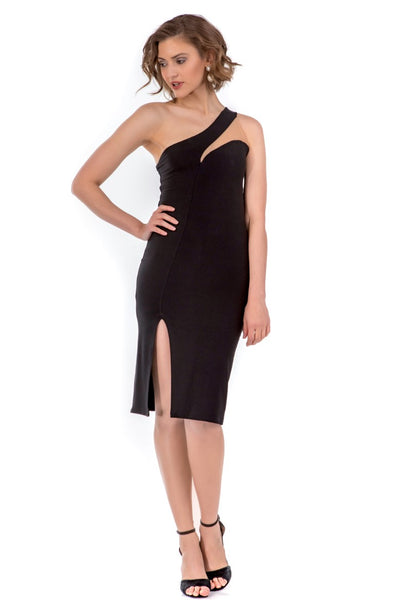 Asymmetric Shoulder Line Tango Dress