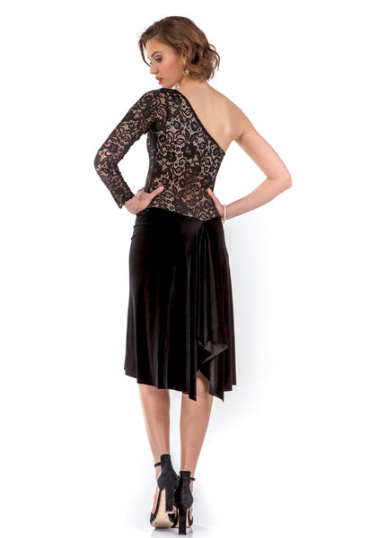 One-shoulder Velvet and Lace Tango Dress