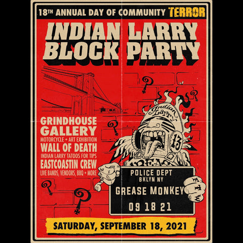Indian Larry Block Party, Grease Monkey, September 18, 2021, Indian Larry Motorcycles