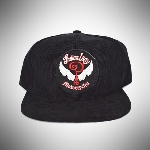 Black Corduroy Trucker Cap with Logo Patch