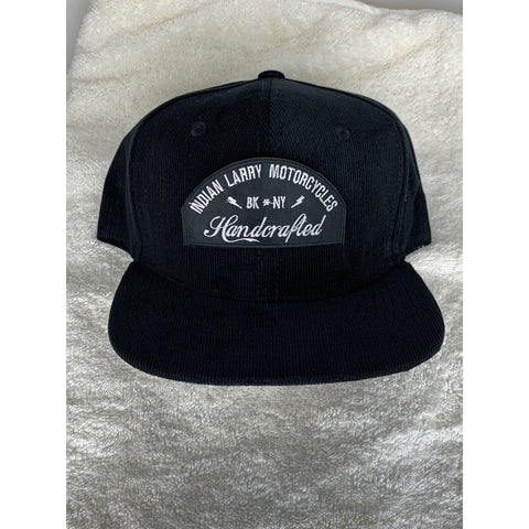 Black Corduroy Trucker Cap with Handcrafted Patch