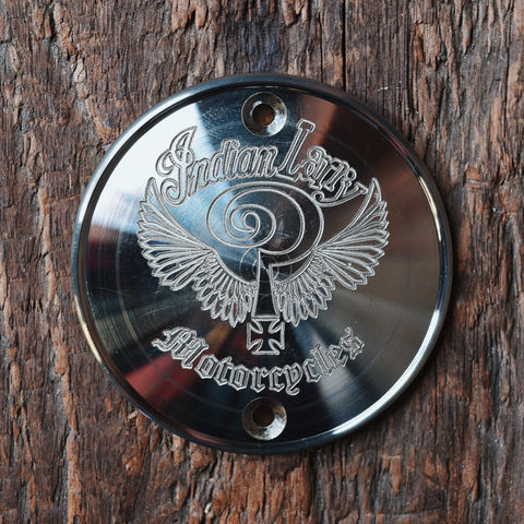 The Indian Larry Logo Vertical Points Cover - Aluminum