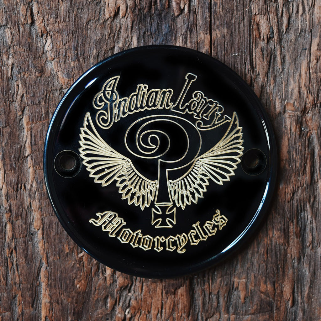 Indian Larry Logo Horizontal Points Cover - Gloss Black + Brass