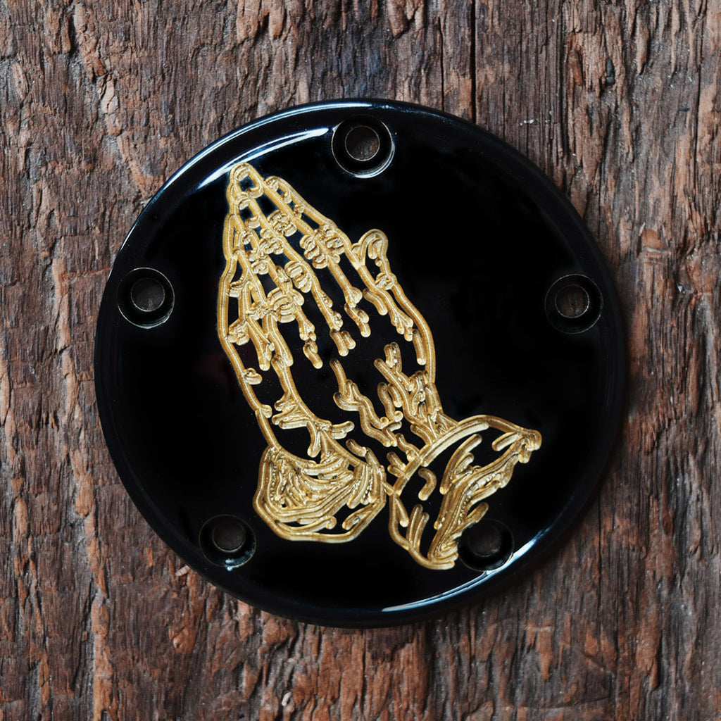 Praying Hands 5 Hole Points Cover - Gloss Black + Brass