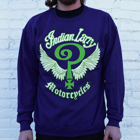 Indian Larry Purple + Green Crewneck Sweatshirt