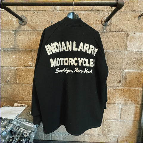 Custom Indian Larry Black + Cream Letterman Jacket (Large)