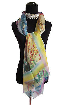 'Watercolor with Pastel Border' Silk Voile Scarf