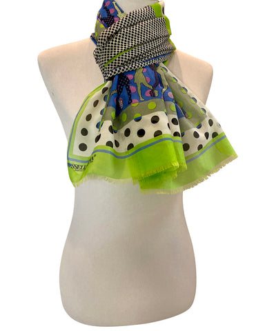 'Golfers Scarf in Chartreuse with Blue'